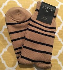 NEW J.Crew Brown Black Stripe Trouser Cotton Blend Womens Socks OS One Size NWT