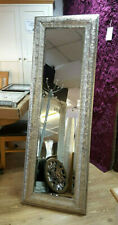 Moroccan Silver Metal Wall Cheval Stand Mirror Tradional Frame Bevelled 175x60cm