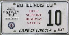 ILLINOIS SPECIAL EVENT LICENSE PLATE 2003 No.10 Help Support Highway Safety