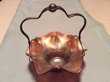 Fenton HOLLY ANTIQUE CARNIVAL GLASS Basket~RARE AQUA OPALESCENT~BEAUTIFUL!