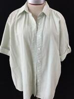 Bonworth blouse top size L large short sleeve green stripe seersucker fabric