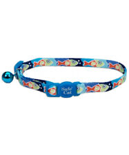 "COASTAL SAFE CAT BLUE FISH SAFETY 8""-12"" BREAKAWAY COLLAR. FREE SHIP IN THE USA"