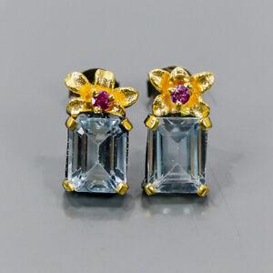 One of a kind SET Blue Topaz Earrings Silver 925 Sterling   /E57195