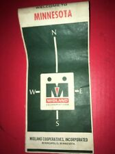 1966  Midland Co-op Products Minnesota State Automotive Travel Road Map gas oil