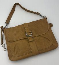 Fossil Tan Camel Color Leather Flap Wristlet Handbag Silver Hardware SHB2748