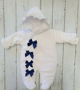 White Velour And Navy Bow Snowsuit
