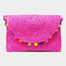 DESIGNER INSPIRED LARGE MULTI COLOR POM POM PINK STRAW FOLDOVER CLUTCH BAG