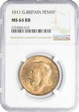 1911 MS64 RB Great Britain 1 Penny UNC NGC KM# 810 Pop 11/4 401 Registry Points