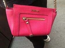 567830fc8db NWT Furla Magnolia Small Ginevra Red Pink Saffiano Leather CrossBody Bag