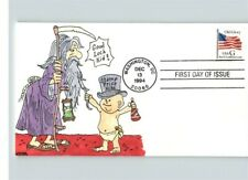 """Hand Painted 1994 FLAG """"Old Glory G stamp"""" pic Father Time and Baby, FDC"""