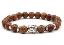 Diy Sutra Tibet silver Handmade 8mm sandalwood Bracelet men 7.5inches Healing