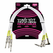 Ernie Ball 1.5' Straight / Angle Patch Cable 3-pack - White
