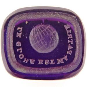 ANTIQUE FRENCH LE GLOBE EST MA PATRIE INTAGLIO AMETHYST GLASS WAX SEAL STAMP FOB