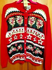 Heirloom Collection Womens Size Large Americana Hearts Cardigan Sweater
