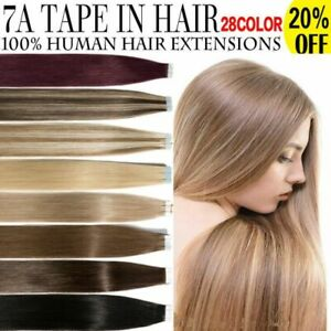 """8A* 14''-24"""" Tape-In Russian Human Hair Extensions Quality Top Remy UK Sell 1st"""
