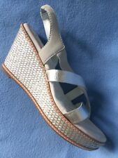 New Soft Walk San Pablo White/Silver Strappy Sandals Silver Wedge sz 10.5M