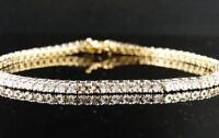 "VALENTINE SPECIAL 7.50 CT ROUND DIAMOND 14K YELLOW GOLD OVER  TENNIS BRACELET 7"""