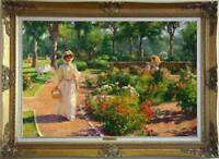 "Hand painted Old Master-Art Antique Oil Painting garden girl on canvas 24""X36"""