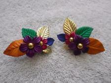 Vintage Plastic Flower Clip Earrings Bold Multi Colors