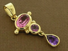 PE080 Colorful 9K Real Gold Drop Pendant - Pink Tourmaline, Rhodolite & Amethyst