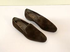 Pair Cifonelli Dark Brown Suede Leather Slip-On Shoes Loafers Mens 9 Italy EUC