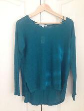 Aeropostale Women Light Sweater Sz M Emerald Green Open Knit Long Sleeve New