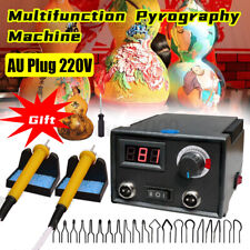 220v Wood Burner Pyrography Pen Burning Machine Gourd Crafts Tools Kit AU Plug