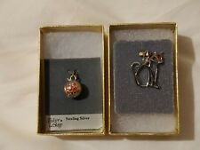 Sterling silver charms, cat and jack-o-lantern, cat and pumpkin