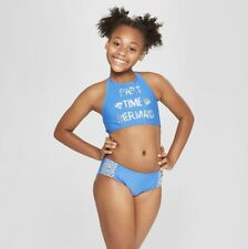 "NEW Cat & Jack 2 Piece ""Part Time Mermaid"" Swimsuit Girl's Size M (7/8)  UPF50+"