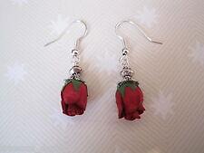 *RED ROSEBUD* Drop Earrings Vintage Style CUTE GIFT Rose bud Tibetan Valentine