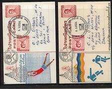 Thailand  2 uprated  postal card  sports           MS1014