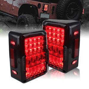 EURO LED Tail Lights w/ Brake Reverse Turn Signal for 07-17 Jeep Wrangler JK