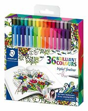 Staedtler Triplus Fineliner 36 Pens for Adult Coloring Books Johanna Basford NEW