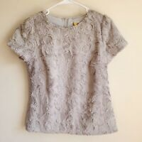 Anthropologie Leifsdottir Faux Fur Short Sleeve Blouse Size Small Holiday