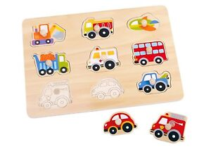 Tooky Vehicle Transportation Pegged Wooden Puzzle Educational Toy