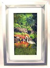 "Handmade Miniature 6""x4"" Heron in Woods Bird Flamingo Framed Picture Wall Art 3D"