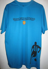 MANCHESTER UNITED BRIGHT BLUE GRAPHIC POLYESTER T SHIRT SZ XL