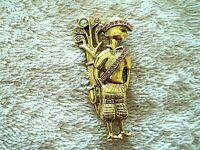 Vintage Lady Golfer Pin, Gold Tone Metal, Pink & AB Crystals, Very Detailed
