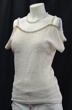 BKE BUCKLE DAYTRIP BEAD open knit SWEATER top pullover cold shoulder Size S NEW
