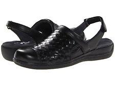 SOFTWALK  'SALINA WOVEN' Slingback Leather Sandal-BLACK  Sz. 6  MEDIUM NIB