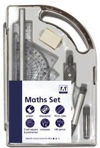 Maths Set Geometry Set 9 Piece Stationery Set Compass Protractor