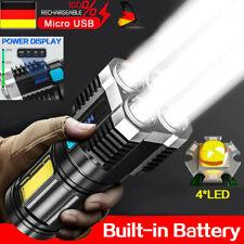Taschenlampe COB LED Taktisches Arbeitslicht Wiederaufladbare USB Ladegerät DE