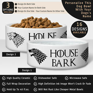 Personalized Name Pet Bowl - Game Of Thrones House Bark Rabbit Cat Dog Food