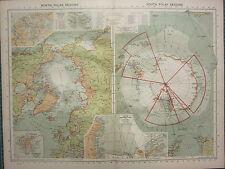 1940 MAP NORTH & SOUTH POLAR REGIONS ROSS SEA GRAHAM LAND SPITSBERGEN EXPLORERS