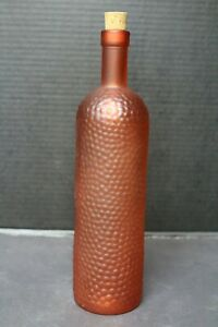 Decorative Orange Glass Bottle w/ Bumps And Cork And Frosted