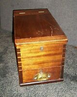 Antique Victorian Mahogany Cash Till with Change Compartment Drawer Brass Handle