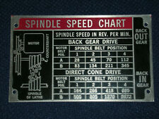 NEW ATLAS CRAFTSMAN 12 INCH LATHE SPINDLE SPEED CHART LABEL 130-008 NEW