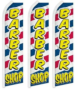 3 Pack Barber Shop Letters Advertising Polyester Swooper Feather Super Flag