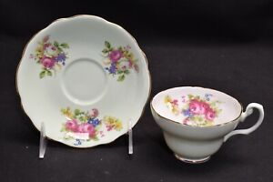 Foley  Cup & Saucer 3201 Mint Green Multi Color Floral