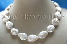 "18"" genuine Natural 22mm White Baroque Reborn Keshi Pearl Necklace #f3289!"